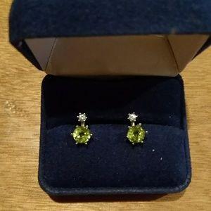 Peridot and diamond earring peiced
